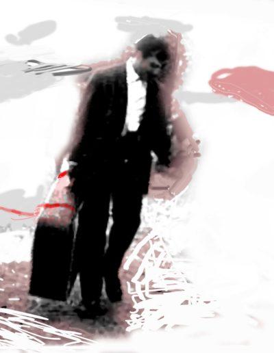 El viajante de lluvia. var. 2 pequeño, 2007<br/>Técnica mixta / Mixed technique