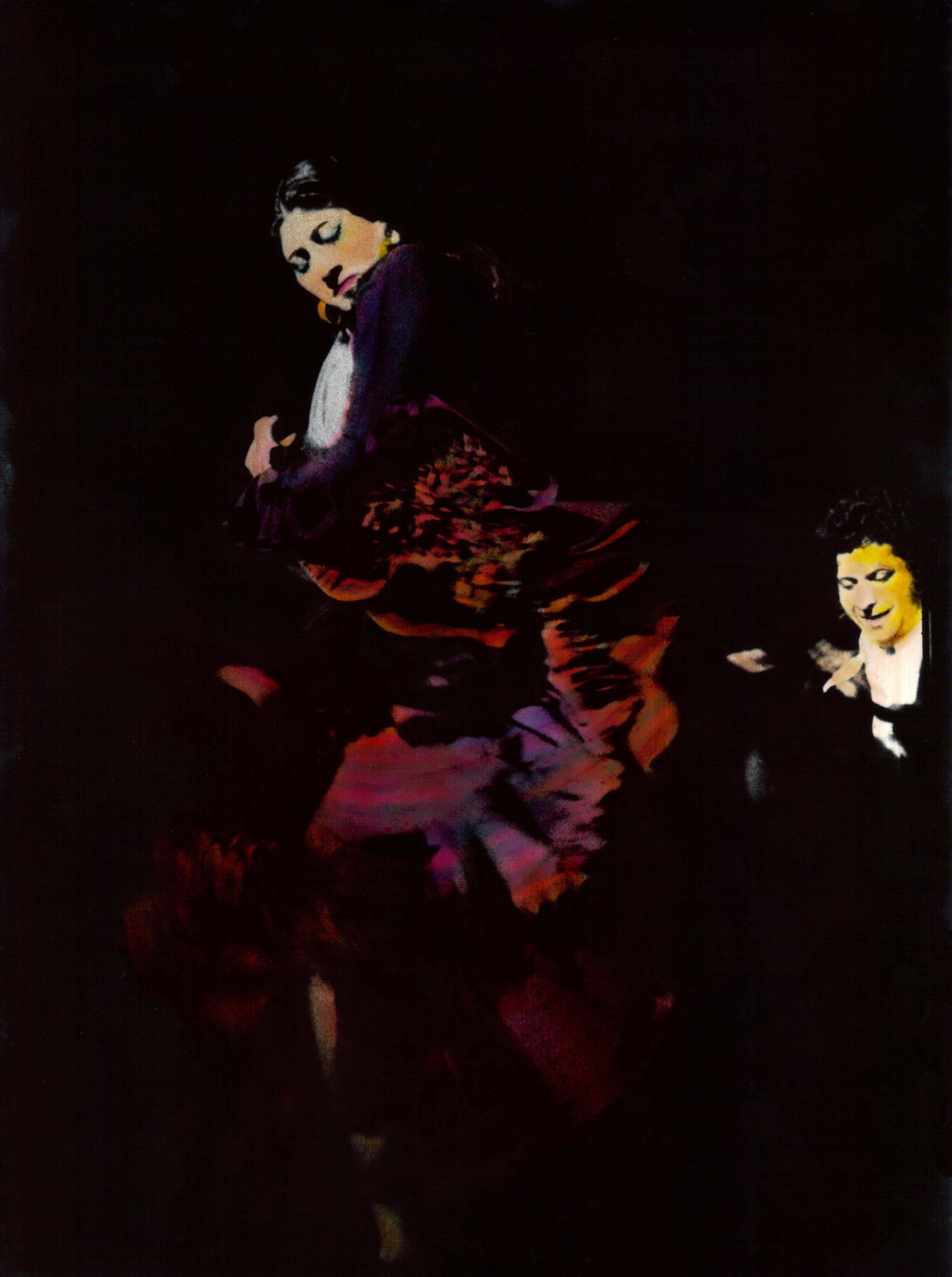 Bailaora II, 1975<br/>Original coloreado a mano con acuarela / Watercolor hand coloured original