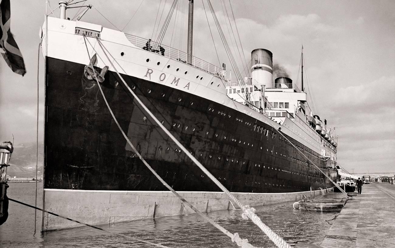 Bartolomé Ros y Ros. EL trasatlántico Roma en el puerto de Ceuta, 1924<br/>