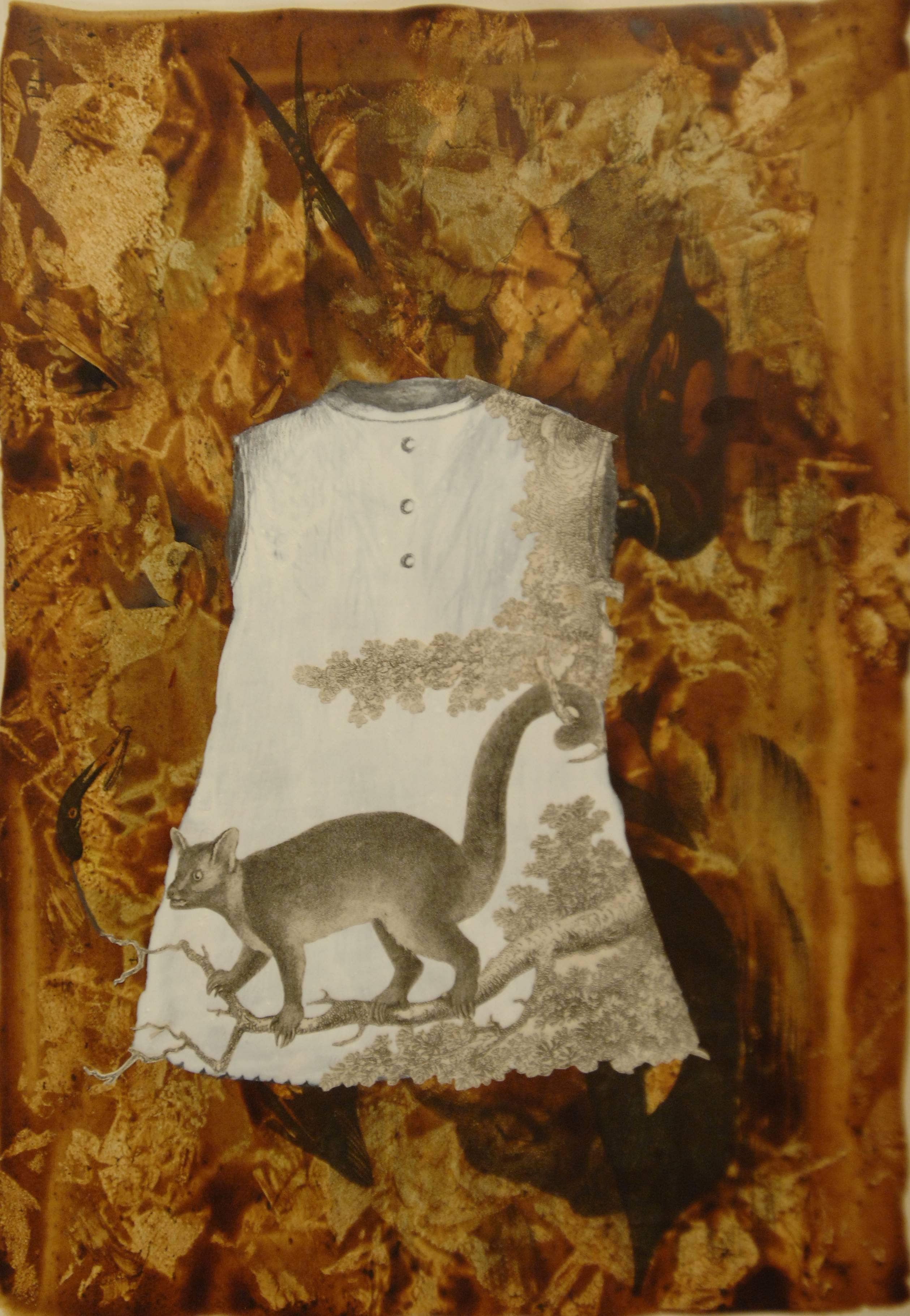 El bosque dentro de mí, 2015<br/>Tinta, dibujo y espinas de puercoespín.