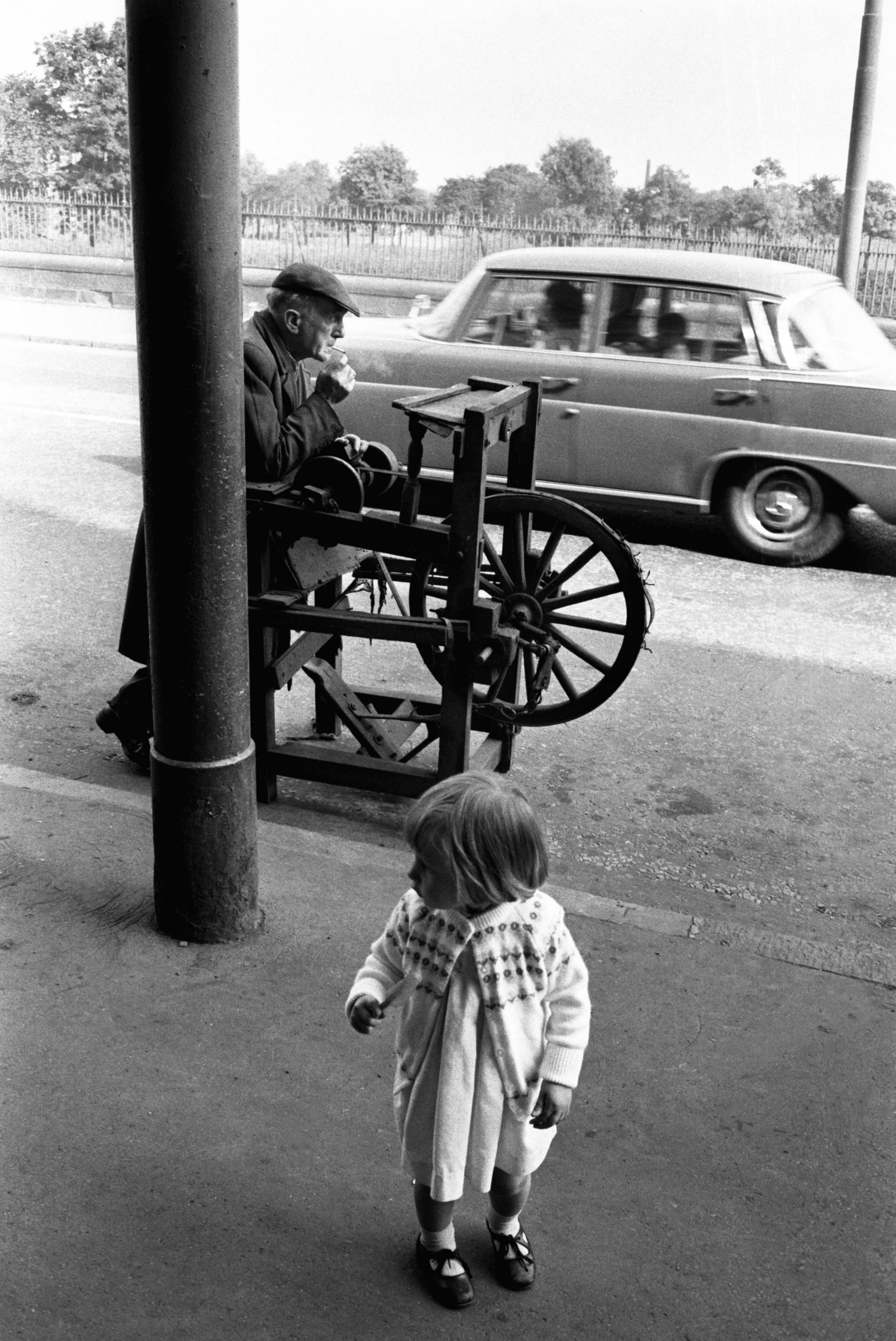 Knife Sharpener having a smoke break, Gorbals, Glasgow, 1968<br/>