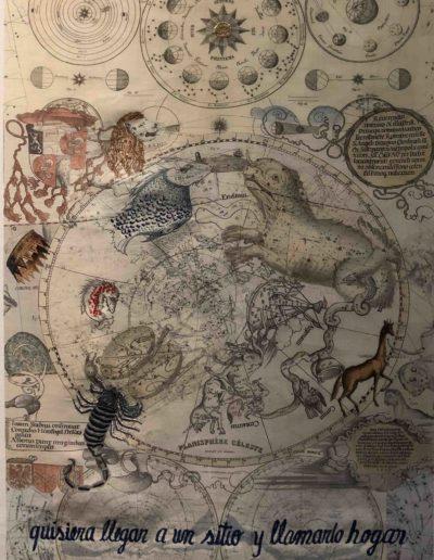 Quisiera llegar a un sitio y llamarlo hogar,Serie Celestials, 2018<br/>Impresión sobre lino natural bordado. 91 x 62 cm