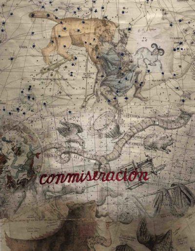 Conmiseración, Serie Celestials, 2018<br/>Impresión sobre lino natural bordado. 91 x 62 cm