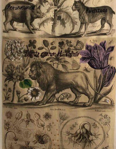 Fuerte como el viento, Serie Celestials, 2018<br/>Impresión sobre lino natural bordado. 173 x 91 cm