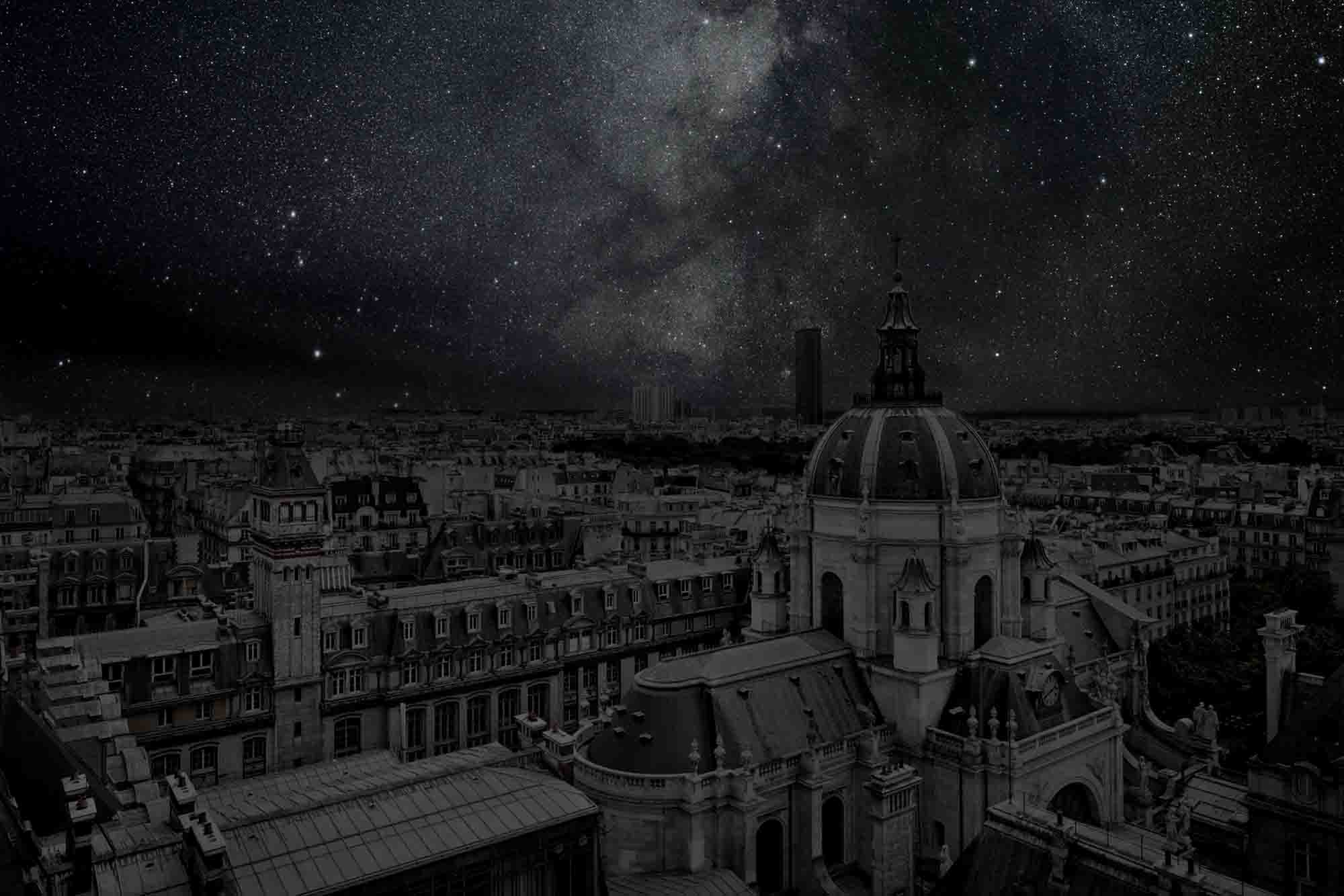 Paris 48° 50' 55'' N 2012-08-13 lst 22:15<br/>Darkened Cities - Villes éteintes