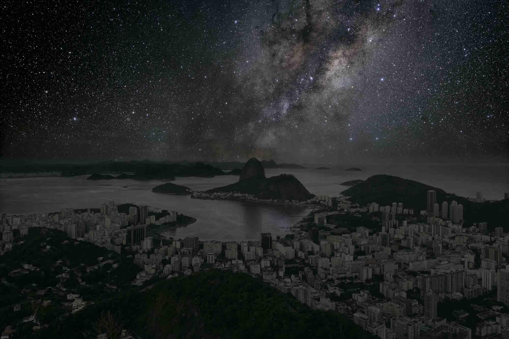 Rio de Janeiro 22° 56' 42'' S 2011-06-04 lst 12:34<br/>Darkened Cities - Villes éteintes
