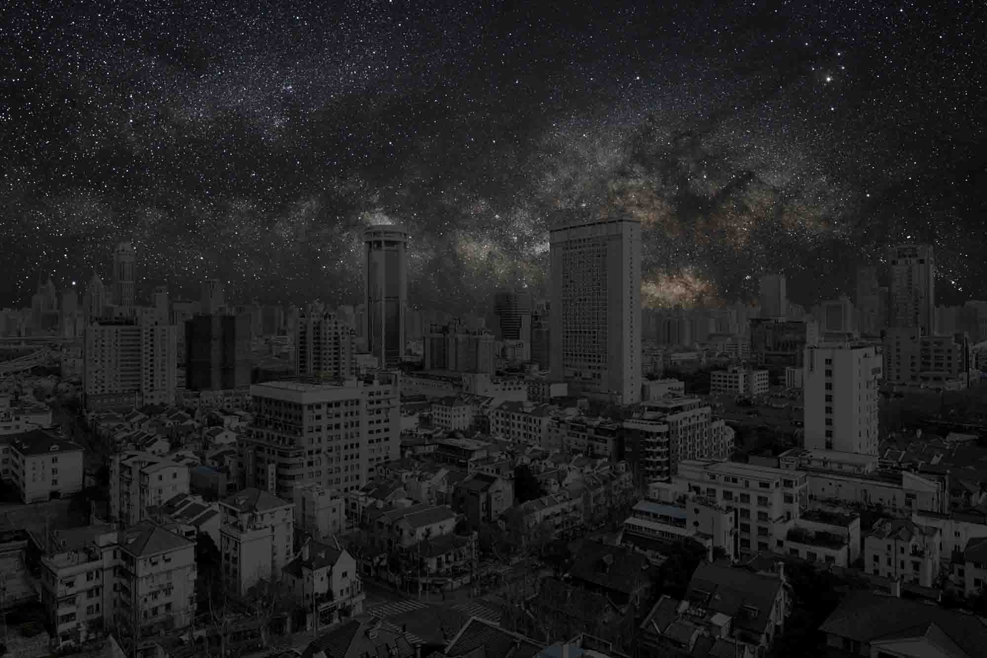 Shanghai 31° 13' 27'' N 2012-03-20 lst 13:57<br/>Darkened Cities - Villes éteintes