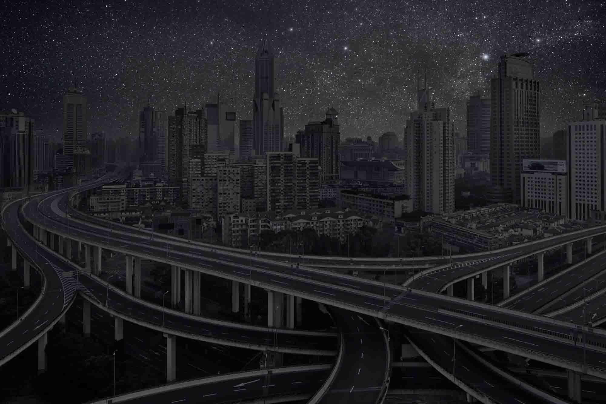 Shanghai 31° 13' 22'' N 2012-03-17 lst 14:47<br/>Darkened Cities - Villes éteintes