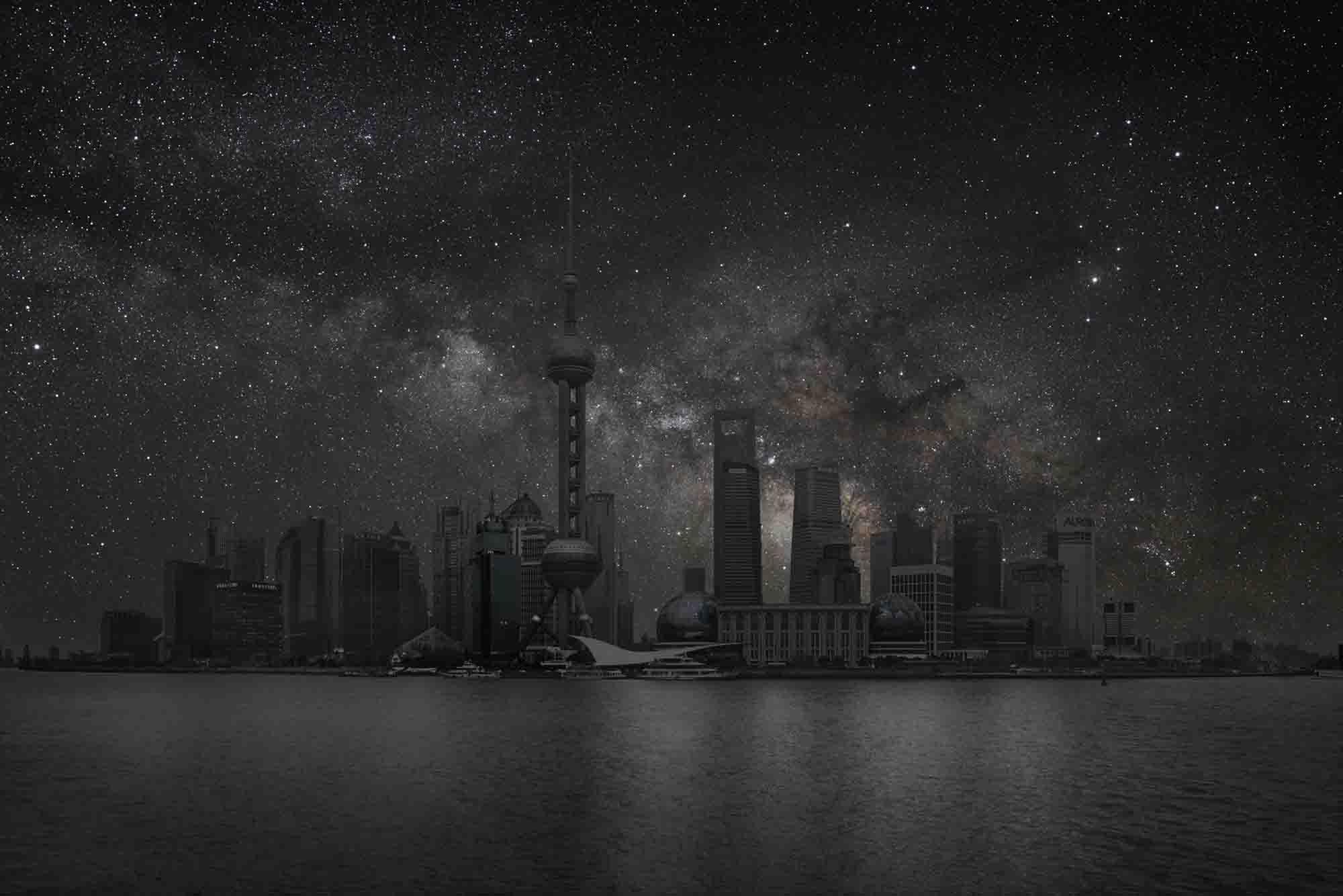 Shanghai 31° 14' 39'' N 2012-03-19 lst 14:42<br/>Darkened Cities - Villes éteintes