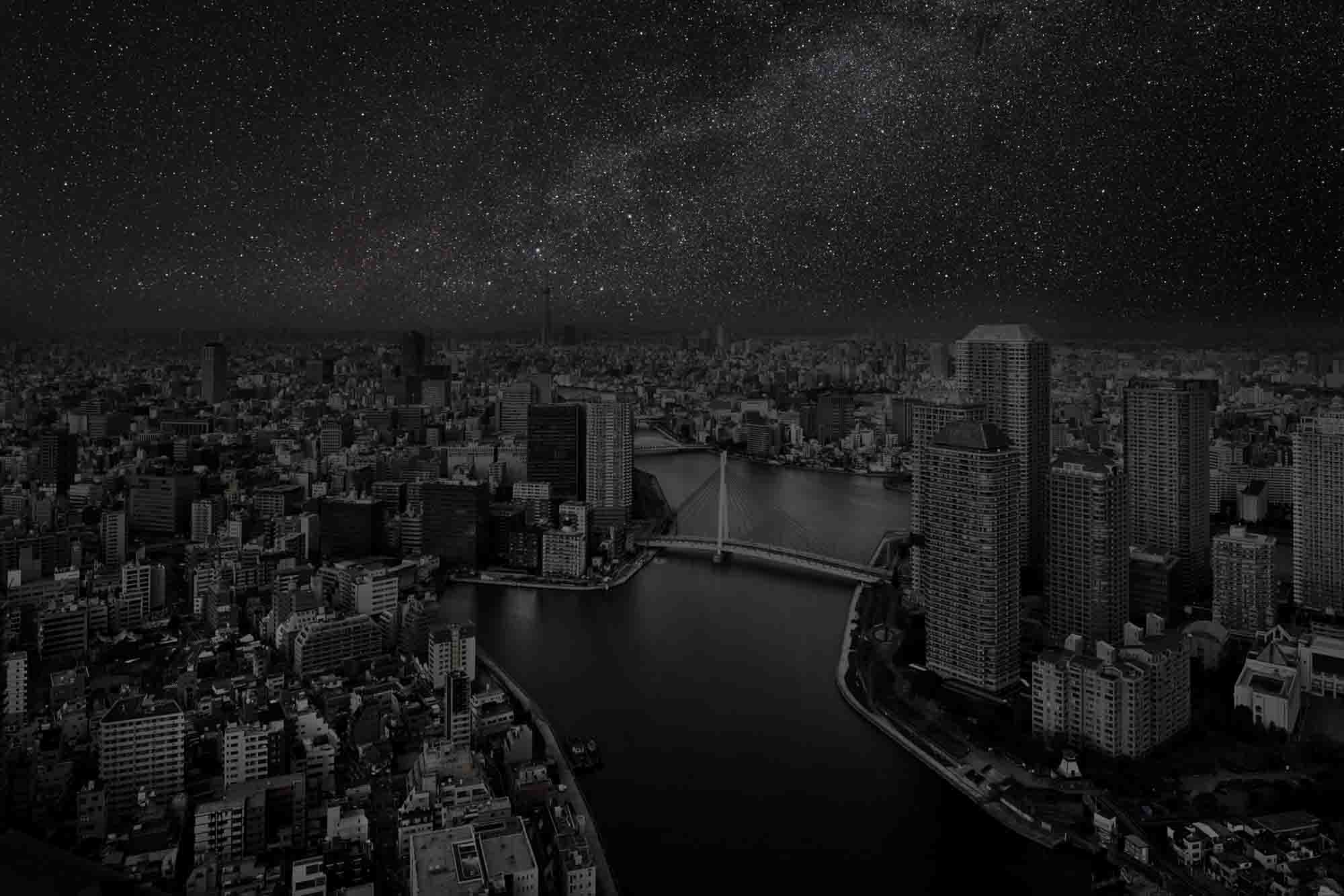 Tokyo 35° 40' 02'' N 2012-02-25 lst 15:25<br/>Darkened Cities - Villes éteintes