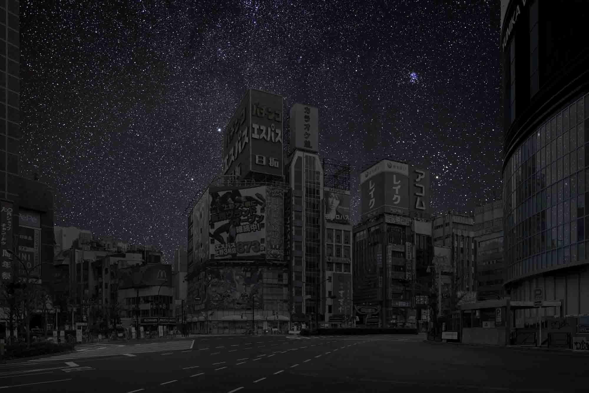 Tokyo 35° 41' 36'' N 2011-11-16 lst 23:16<br/>Darkened Cities - Villes éteintes