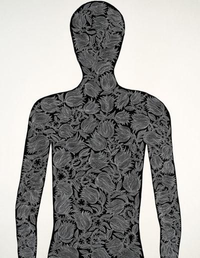 Anatomías 3<br/>Tinta china y rotulador sobre papel de la India Khadi, hecho a mano a partir de trapos reciclados. 2018. 80 x 200 cm