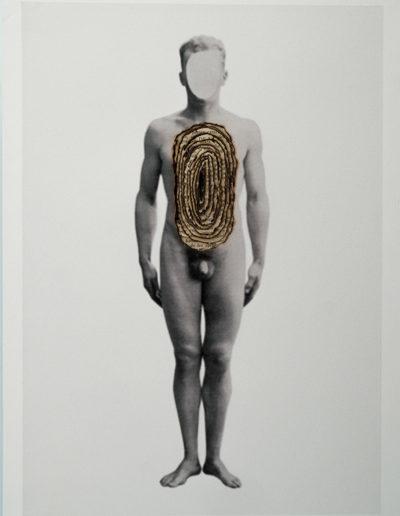 Cuerpos 3<br/>Caja de madera, fotografía impresa sobre papel Canson Edition blanco natural 250 gr. y hojas de libro quemadas. 27,5 x 38 cm. Ed.: Única / Unique