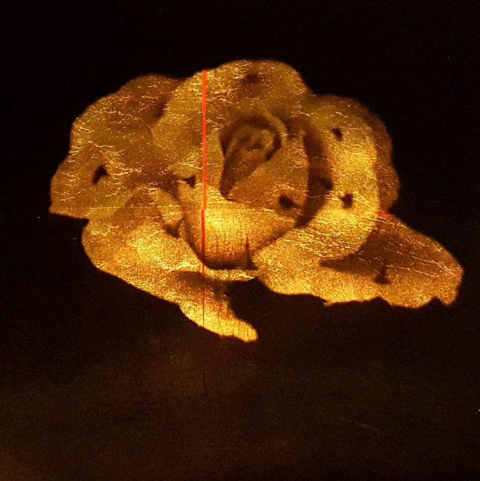 ST. Serie Jerarquías de la intimidad, 2018<br/>Película ortocromática sobre láminas de oro. 30 x 30 cm