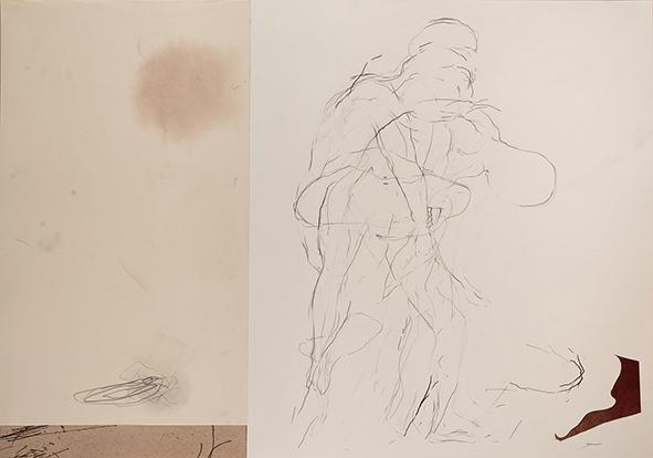 Exilio #12, 2018<br/>Impresión en Canvas mas lámina de oro y betún de Judea  70 x 100 cm Ed. Única