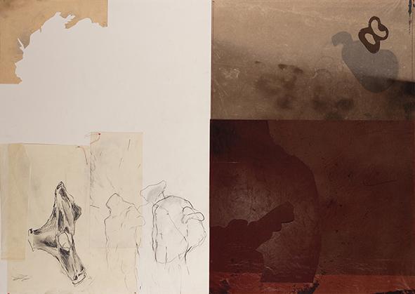 Exilio #13, 2018<br/>Impresión en Canvas mas lámina de oro y betún de Judea  70 x 100 cm Ed. Única