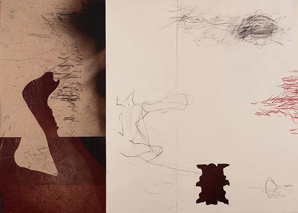 Exilio #3, 2018<br/>Impresión en Canvas mas lámina de oro y betún de Judea  70 x 100 cm Ed. Única
