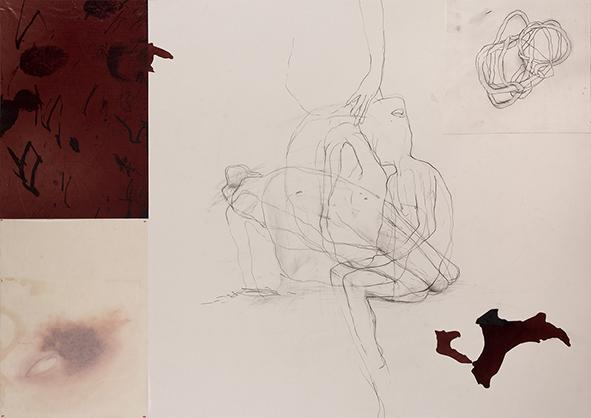 Exilio #4, 2018<br/>Impresión en Canvas mas lámina de oro y betún de Judea  70 x 100 cm Ed. Única