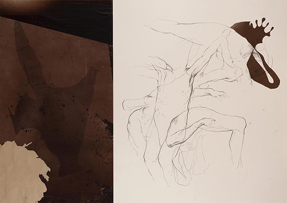 Exilio #5, 2018<br/>Impresión en Canvas mas lámina de oro y betún de Judea  70 x 100 cm Ed. Única