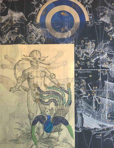 ST, Serie Celestials, 2019<br/>Impresión sobre lino natural bordado. 200 x 250 cm