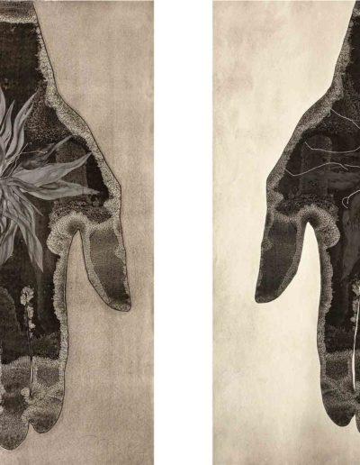 Mis manos flor, 2015. Díptico<br/>Tinta china e hilo sobre papel. 140 x 200 cm