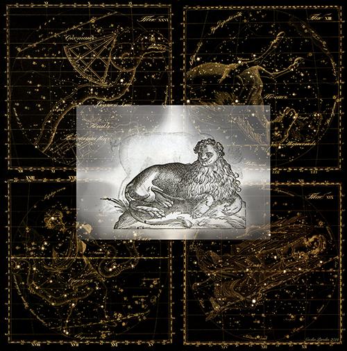 ST, Serie Celestials, 2019<br/>Impresión sobre lino natural bordado. 112 x 112 cm