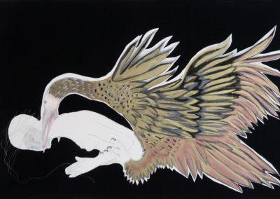 Ana DMatos. ST, Serie Parasidaeidae, 2016<br/>Graffiti, tinta, cera, hilo de oro y tela sobre papel Arches