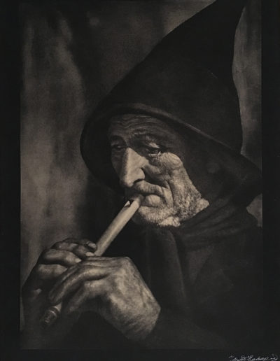 Viejo chistulari,1935<br/>Carbón directo / Direct charcoal