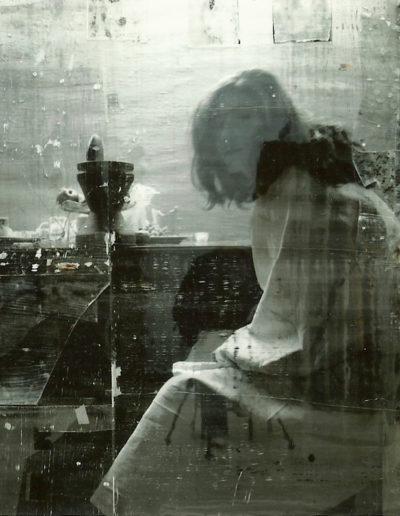 La espera, 2007<br/>Fotografia y acrilico sobre lienzo