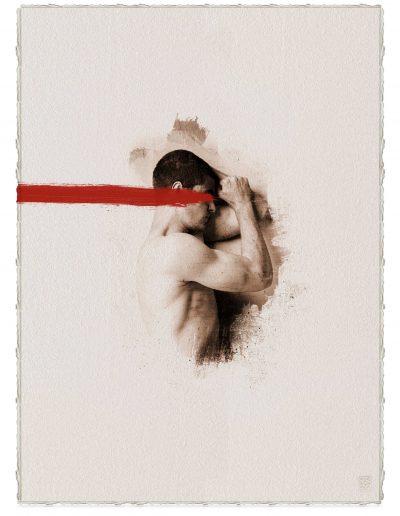 Alberto Ros. Hereje #1, 2020<br/>Marrón Vandyke sobre papel acuarela intervenido con acrílico rojo / Vandyke on watercolor paper with red acrylics