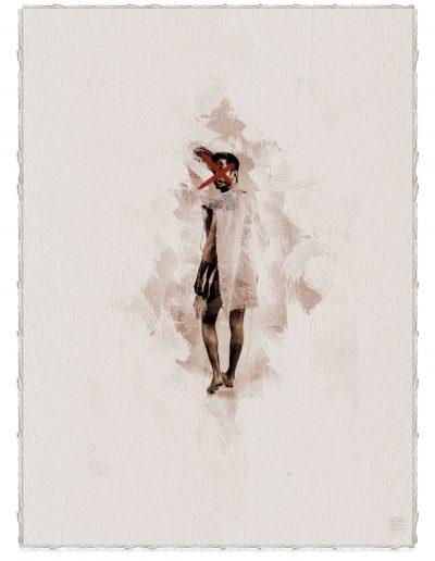 Alberto Ros. Hereje #2, 2020<br/>Marrón Vandyke sobre papel acuarela intervenido con acrílico rojo / Vandyke on watercolor paper with red acrylics