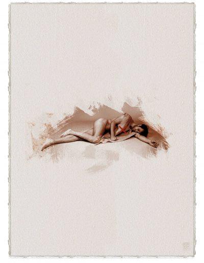 Alberto Ros. Hereje #3, 2020<br/>Marrón Vandyke sobre papel acuarela intervenido con acrílico rojo / Vandyke on watercolor paper with red acrylics
