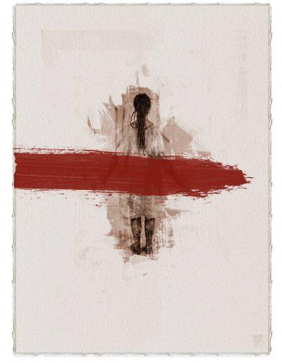 Alberto Ros. Hereje #4, 2020<br/>Marrón Vandyke sobre papel acuarela intervenido con acrílico rojo / Vandyke on watercolor paper with red acrylics