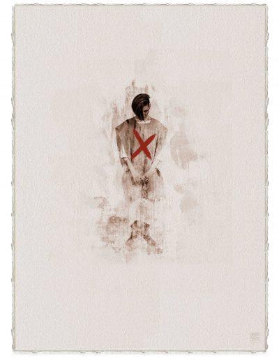 Alberto Ros. Hereje #5, 2020<br/>Marrón Vandyke sobre papel acuarela intervenido con acrílico rojo / Vandyke on watercolor paper with red acrylics