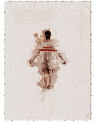 Alberto Ros. Hereje #6, 2020<br/>Marrón Vandyke sobre papel acuarela intervenido con acrílico rojo / Vandyke on watercolor paper with red acrylics