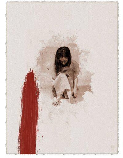 Alberto Ros. Hereje #7, 2020<br/>Marrón Vandyke sobre papel acuarela intervenido con acrílico rojo / Vandyke on watercolor paper with red acrylics