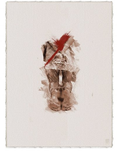 Alberto Ros. Hereje #8, 2020<br/>Marrón Vandyke sobre papel acuarela intervenido con acrílico rojo / Vandyke on watercolor paper with red acrylics
