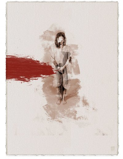 Alberto Ros. Hereje #9, 2020<br/>Marrón Vandyke sobre papel acuarela intervenido con acrílico rojo / Vandyke on watercolor paper with red acrylics