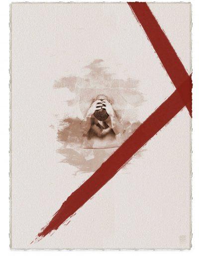 Alberto Ros. Hereje #11, 2020<br/>Marrón Vandyke sobre papel acuarela intervenido con acrílico rojo / Vandyke on watercolor paper with red acrylics