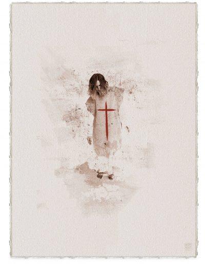 Alberto Ros. Hereje #12, 2020<br/>Marrón Vandyke sobre papel acuarela intervenido con acrílico rojo / Vandyke on watercolor paper with red acrylics