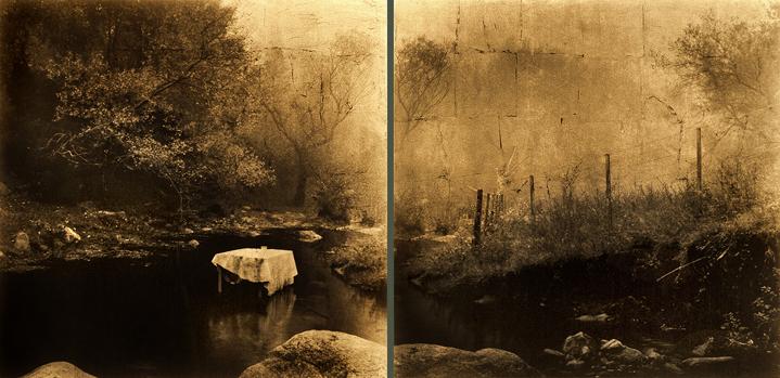 Luis González Palma. El canto despues del encuentro, 2004<br/>Película ortocromática con láminas de oro / Orthocormatic film and gold leaf.  30 x 30 cm