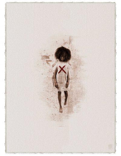 Alberto Ros. Hereje #13, 2020<br/>Marrón Vandyke sobre papel acuarela intervenido con acrílico rojo / Vandyke on watercolor paper with red acrylics